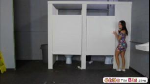 Horny teen Megan Rain sucks and fucks cock in the bathroom