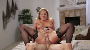 Cherie DeVille and Tyler Nixon The guy slips the cream off her breasts