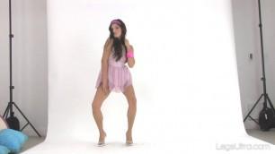 Staisja in a Halter Top Cute brunette shows off her legs