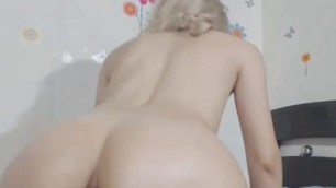 Hot Ass Blonde Shemale Dildo Fucking her Nice Hole