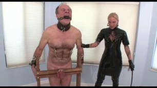 Severe CBT Cruel Mistress tortures a helpless male slaves cock and balls
