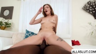 Hot Riley gets her pussy slammed by a big black cock guy