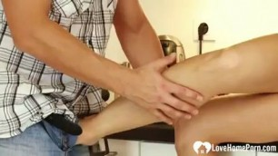 Sexy Bombshell with hot feet is rammed after oral