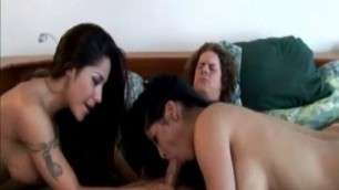 Hot Brunette Alexis Amore shared this guy two girls on one dick