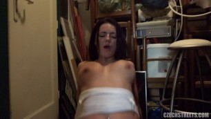 Brunette with a beautiful chest fucks and sucks a dick for money 96 CzechStreets