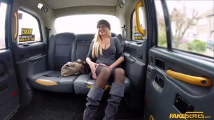 Busty blonde Amber Jayne sucks and fucks taxi drivers cock