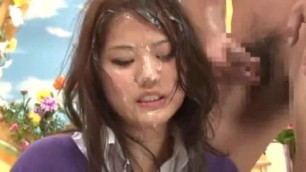 Bukkake News charming Japanese woman gets a lot of sperm on her face