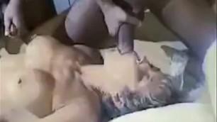 Busty MILF takes a few dicks Interracial gangbang