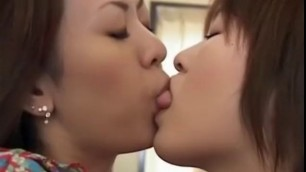 Amazing Japanese lesbian girls insane kiss and spit swap