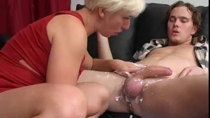 High heeled Blonde mom Moriah sucking her sons big cock
