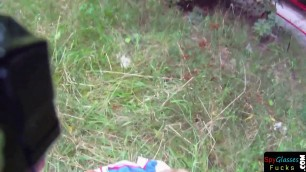 Pulled euro gets fucked on all fours outdoors POV