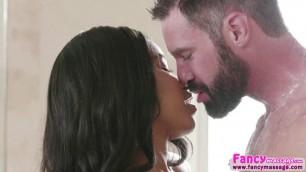 Ebony babe Jenna Foxx gets a massage and a hard fuck