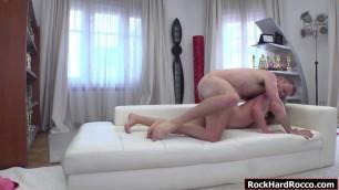 Spanish Zoey Doll enjoys riding Roccos cock
