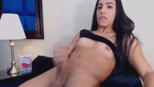 Wild Shemale Jerks on her Big Hard Dick