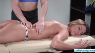 Whorish ladies Tara and Kasey have lesbian sex after back rub