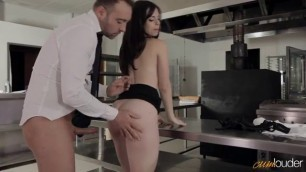 The guy fucked rich glamorous girl in stockings right in the restaurant in the kitchen