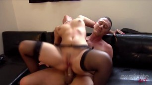 Hard fucked with condom brunette in stockings in a narrow ass and pussy Lexie