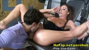 muscular guy with elephant dick fucks hot babe with big tits and super ass in the gym