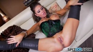 Jessica Jaymes is fingering her pussy on the couch orgasm
