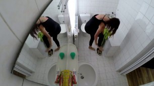sexy cutie girl caught on spy hidden cam in the bathroom