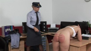 female officer severely punished spanking