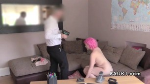 adrianna Pink haired babe anal fingered in casting