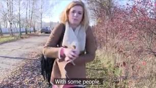 Czech amateur blonde Haley bangs in bushies in public