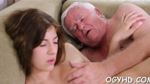 Delicious young girl Lila enjoys old hard rod entering her pussy