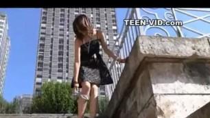 teen upskirt no panties Demonstrates it on the street