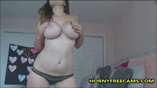 Cute Busty Big Ass Babe Masturbates