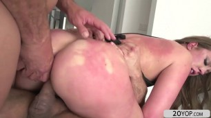 Busty babe Maddy gets her holes fucked