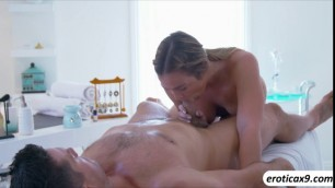 Blonde babe Blair Williams gets a massage before a hard sex