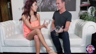 Petite redhead Kara Faux on a Couch riding on a huge cock