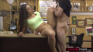 Flirtatious latina Lilly Hall ends up fucked by dude at Shawns office
