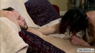 Hot shemale River Stark in an anal sex with a hunk dude