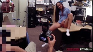 Naughty pawnman fucks hot Latina ass in the office