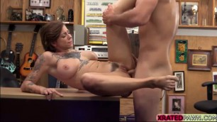 Big tits Tattooed babe Harlow Harrisong spreads legs in the pawnshop for cash