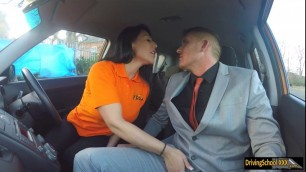 Busty woman gets deep fucking in the car