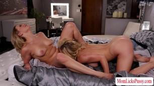 Slutty MILF Cherie have sex with hot Mia in wild scissor sex position