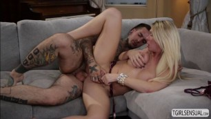 Blonde TS Aubrey Kate gets some hard tight anal fucking