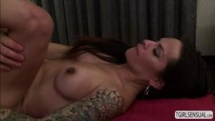 Hot latina TS Foxxy gives hunk dudes big cock a blowjob