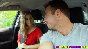 Charming beauty Bella Rose bangs a guys monstrous cock outdoors