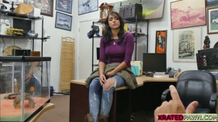 Bigtits babe Jessi ends up sucking pawnmans big cock in his office