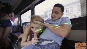 Slutty blonde Arya Fae gets a free ride and fuck in the bus