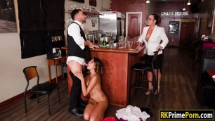 Horny Eve Ellwood pounded by bartender