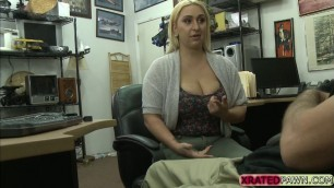 Busty blonde babe Nina Kayy fucks from behind for cash