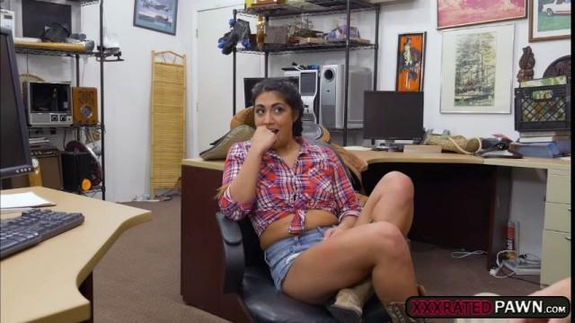Latina babe Lexi Banderas sells a sadle and rides cock