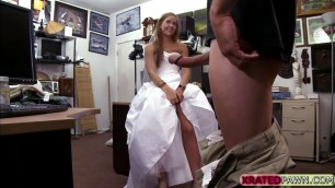 Desperate horny bride sucks and fucks pawn managers hugecock