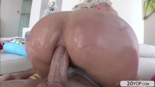 Blonde big tits Riley Jenner recieves an anal pounding