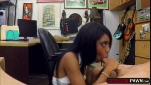 Ebony babe Brittney fucks Shawn for money in his office